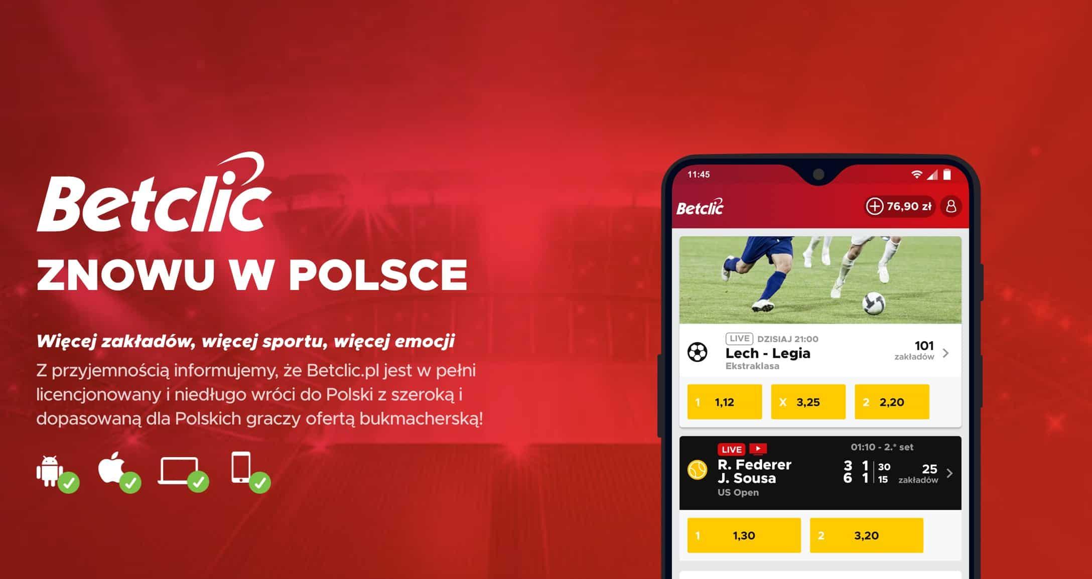 BetClic.pl - strona internetowa, aplikacja mobilna 2019