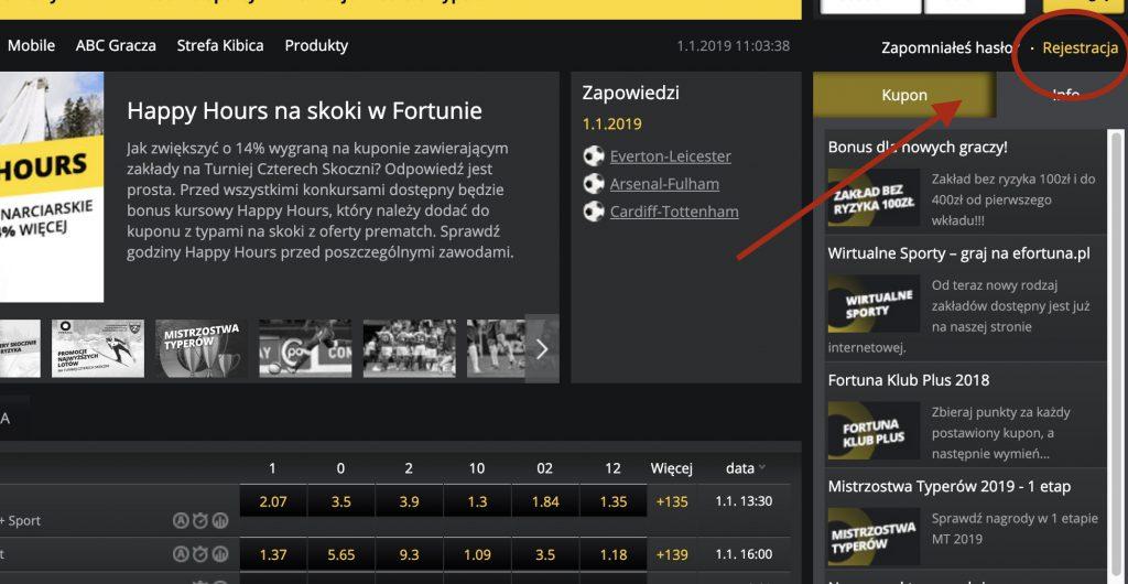 Rejestracja w Fortuna Online