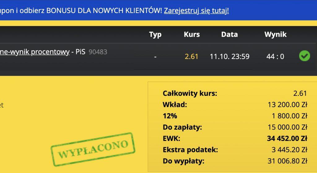 Na jednym kuponie zarobił na wyborach 31 tysięcy złotych!