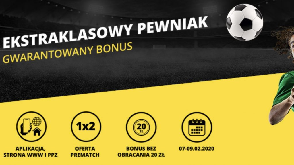 Pewniak na Ekstraklasę - bonus 20 PLN od Fortuny!